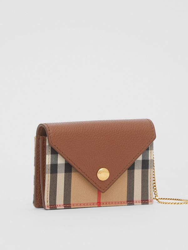 Vintage Check and Leather Card Case with Strap in Tan - Women | Burberry - cell image 2