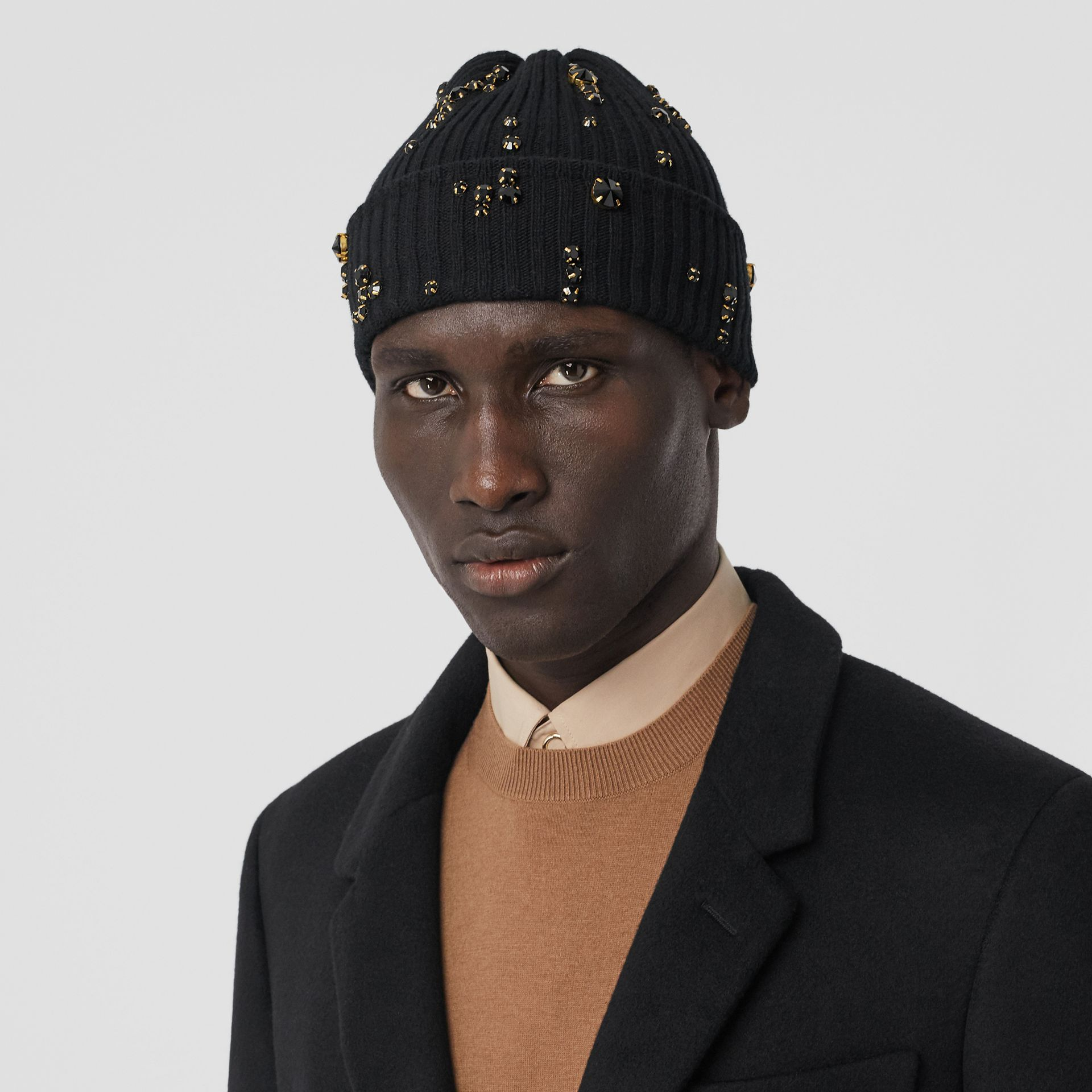 Embellished Rib Knit Wool Beanie in Black | Burberry - gallery image 3
