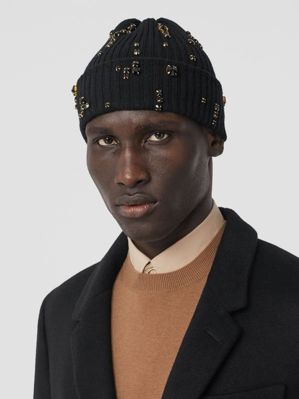 Embellished Rib Knit Wool Beanie in Black | Burberry - cell image 3