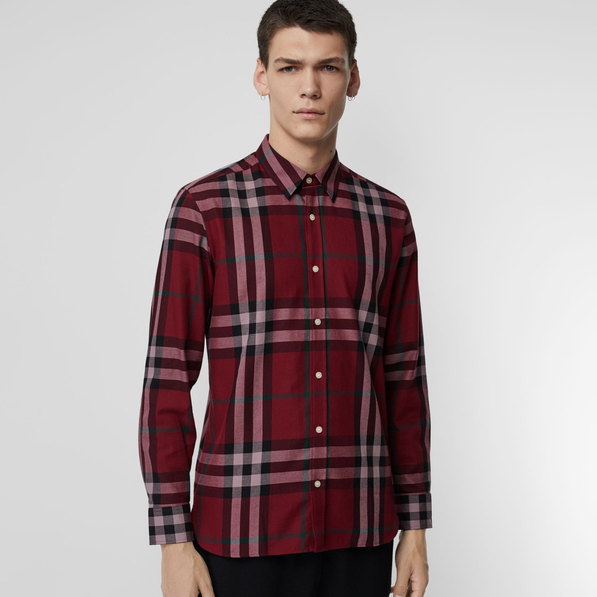 Check Cotton Flannel Shirt in Crimson - Men | Burberry - gallery image 0