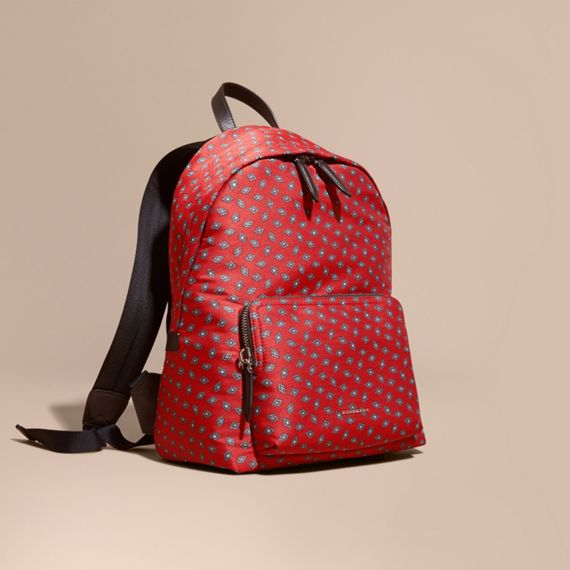 Leather Trim Abstract Jacquard Backpack Military Red