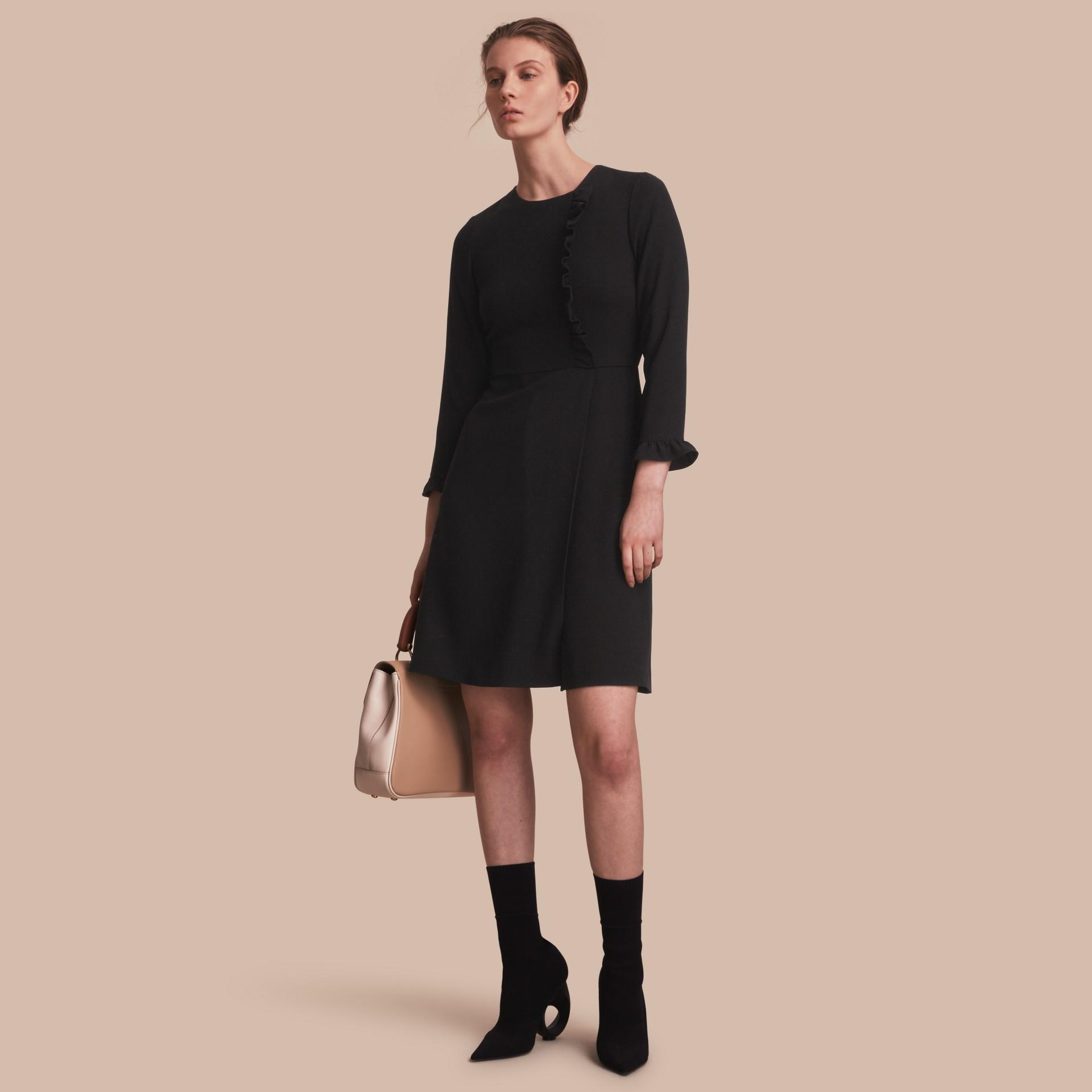 Ruffle Trim Crepe Dress - gallery image 1