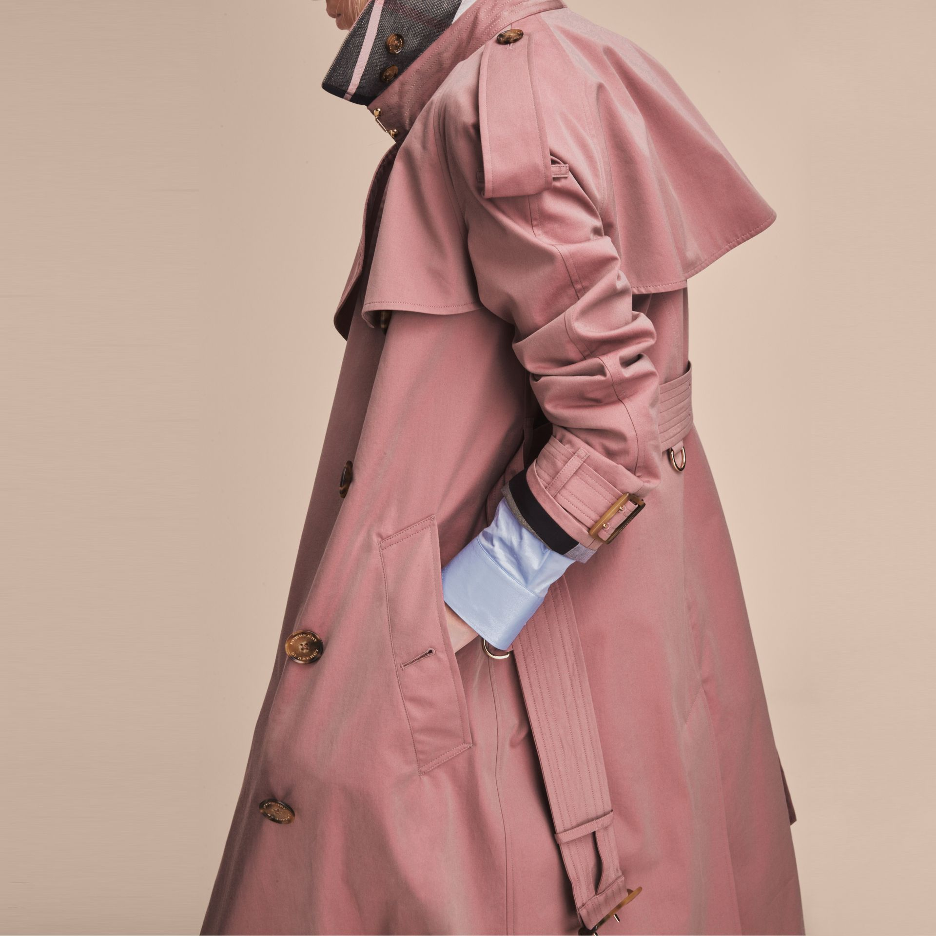 Tropical Gabardine Trench Coat in Antique Rose - Women | Burberry Canada - gallery image 6