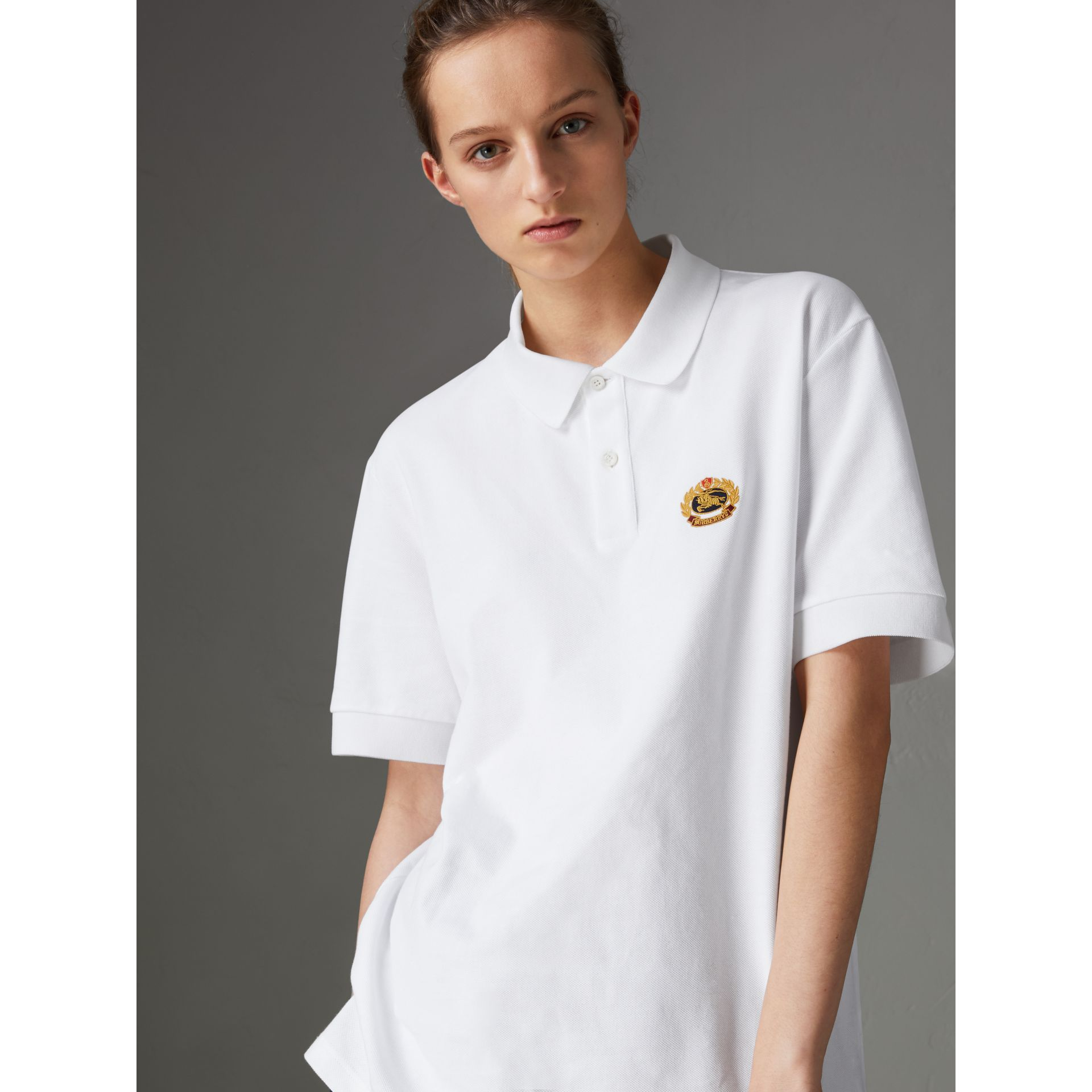 Reissued Cotton Polo Shirt in White - Women | Burberry Canada - gallery image 4