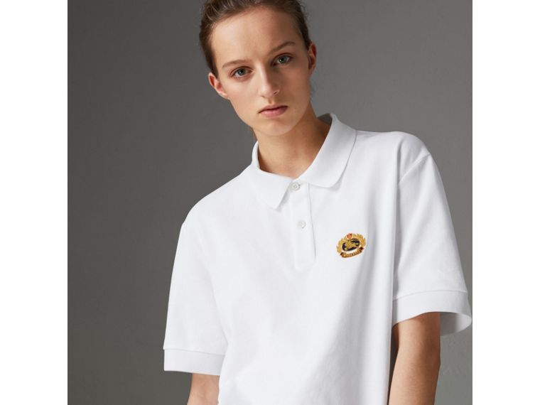 Reissued Cotton Polo Shirt in White - Women | Burberry - cell image 4