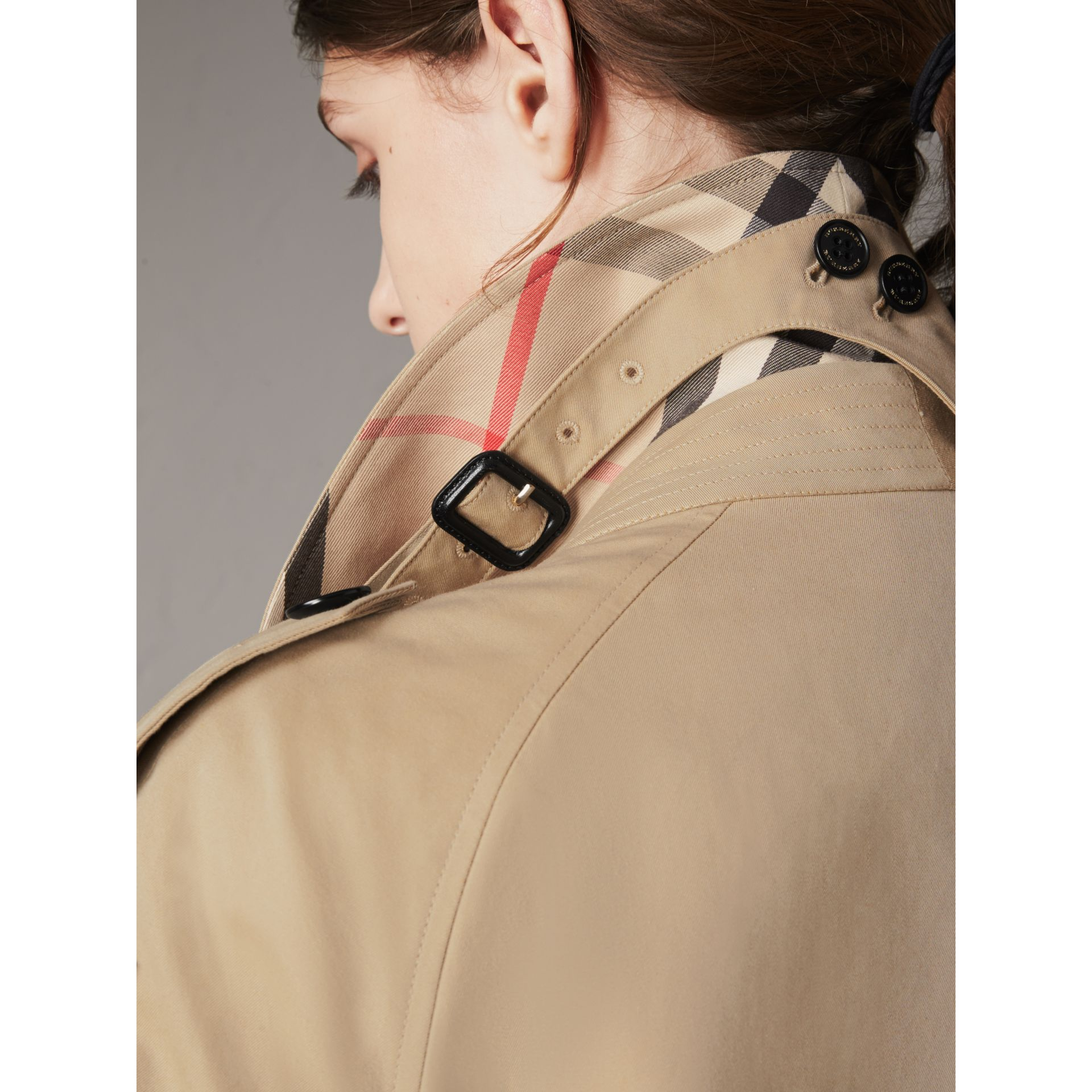 Resin Button Cotton Gabardine Oversize Trench Coat in Honey - Women | Burberry - gallery image 4