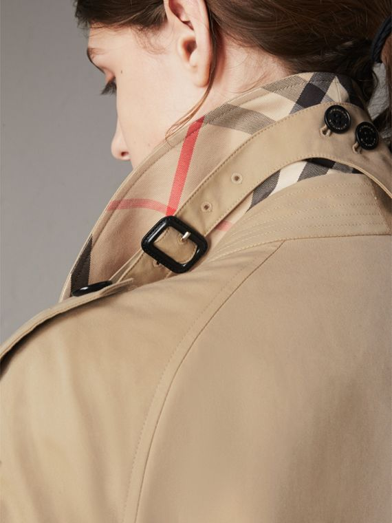 Resin Button Cotton Gabardine Oversize Trench Coat in Honey - Women | Burberry - cell image 3