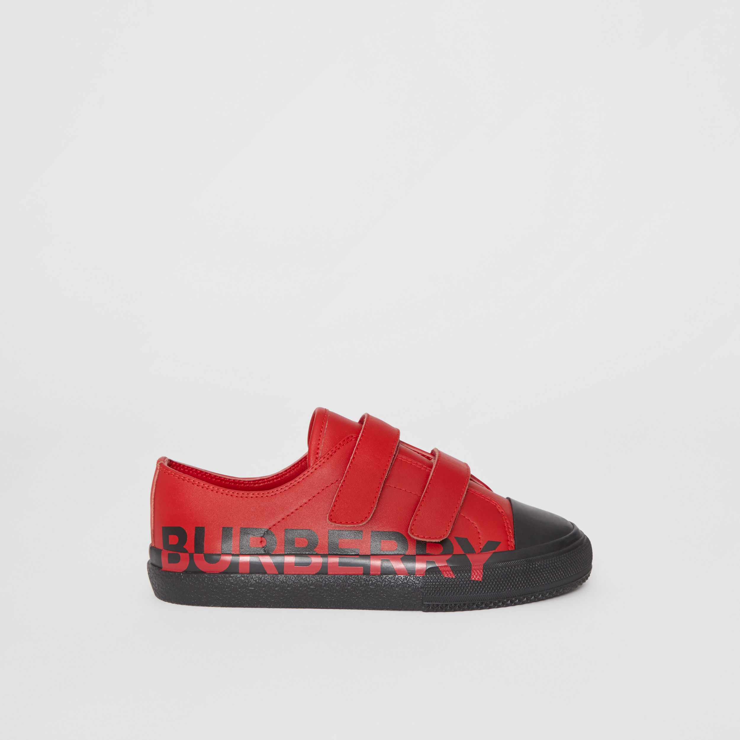Logo Print Two-tone Leather Sneakers in Bright Red/black - Children | Burberry - 4