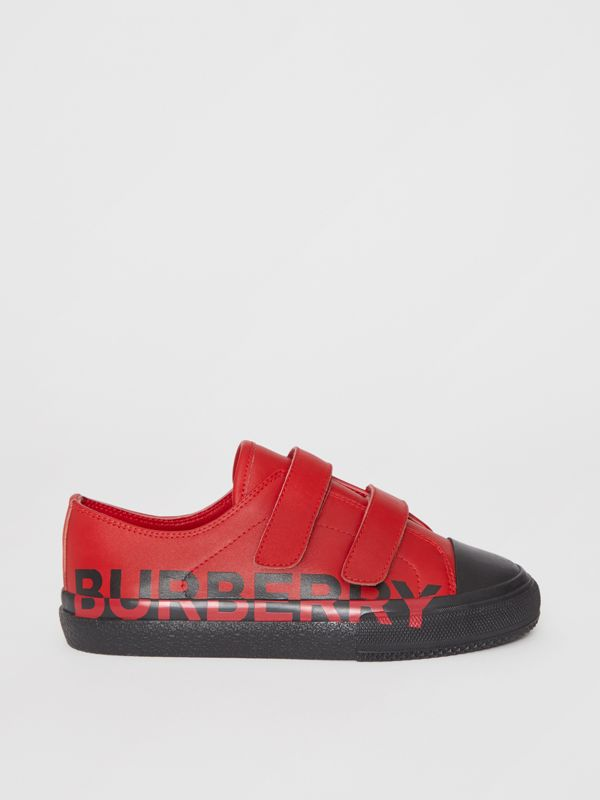 Logo Print Two-tone Leather Sneakers in Bright Red/black - Children | Burberry - cell image 3