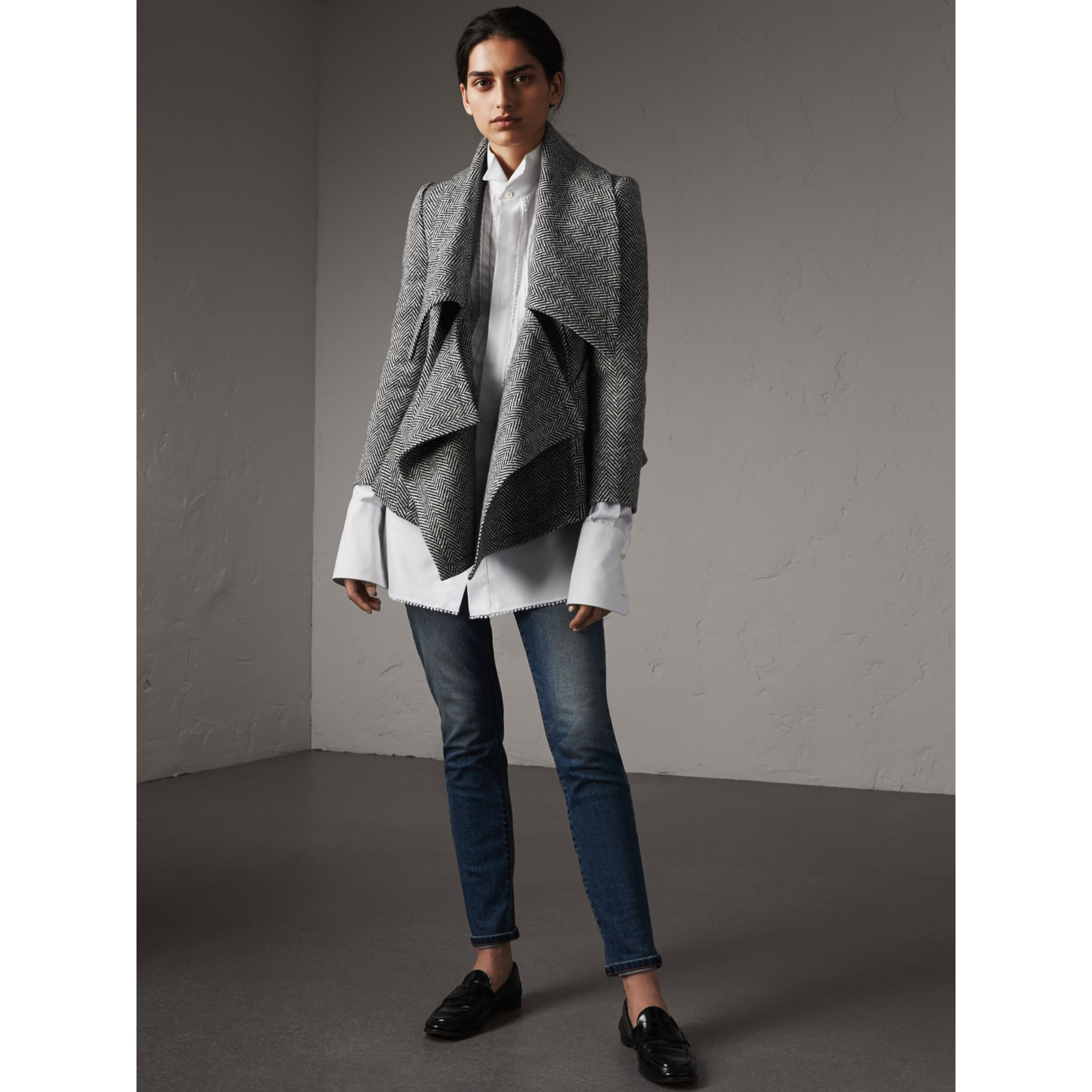 Herringbone Wool Cashmere Wrap Jacket - Women | Burberry - gallery image 1