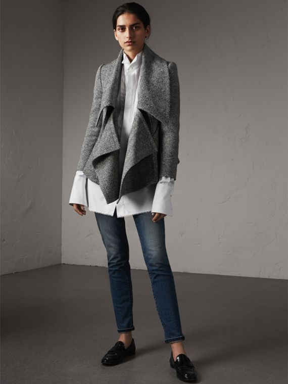 Herringbone Wool Cashmere Wrap Jacket