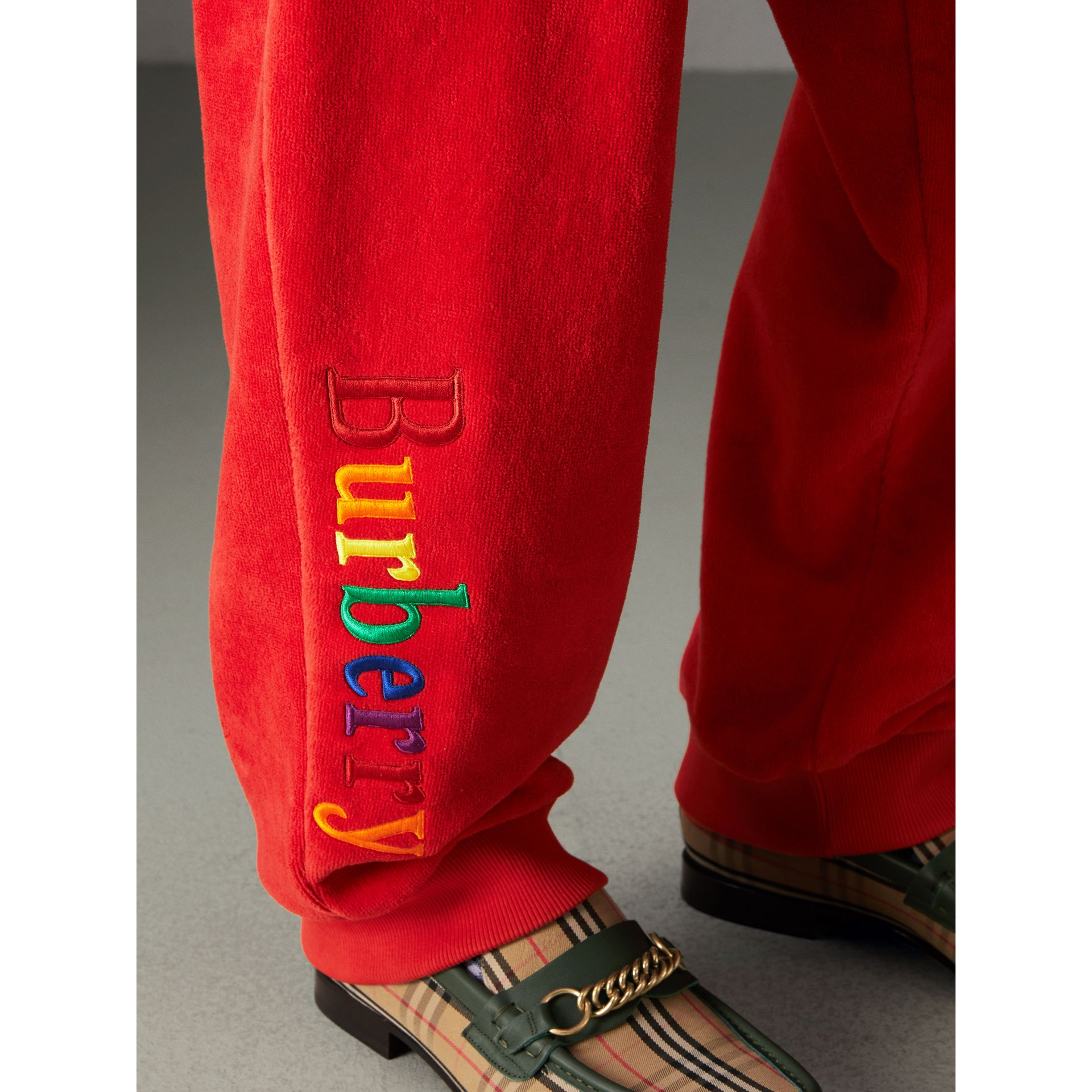 Archive Logo Towelling Sweatpants in Bright Red | Burberry United States - gallery image 1