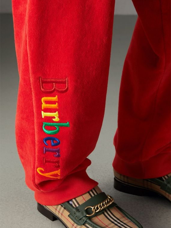 Archive Logo Towelling Sweatpants in Bright Red