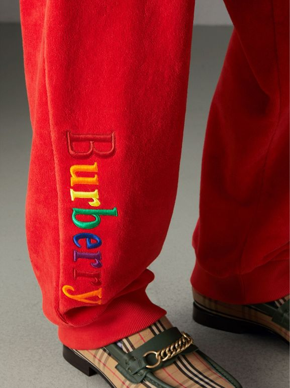 Archive Logo Towelling Sweatpants in Bright Red | Burberry - cell image 1