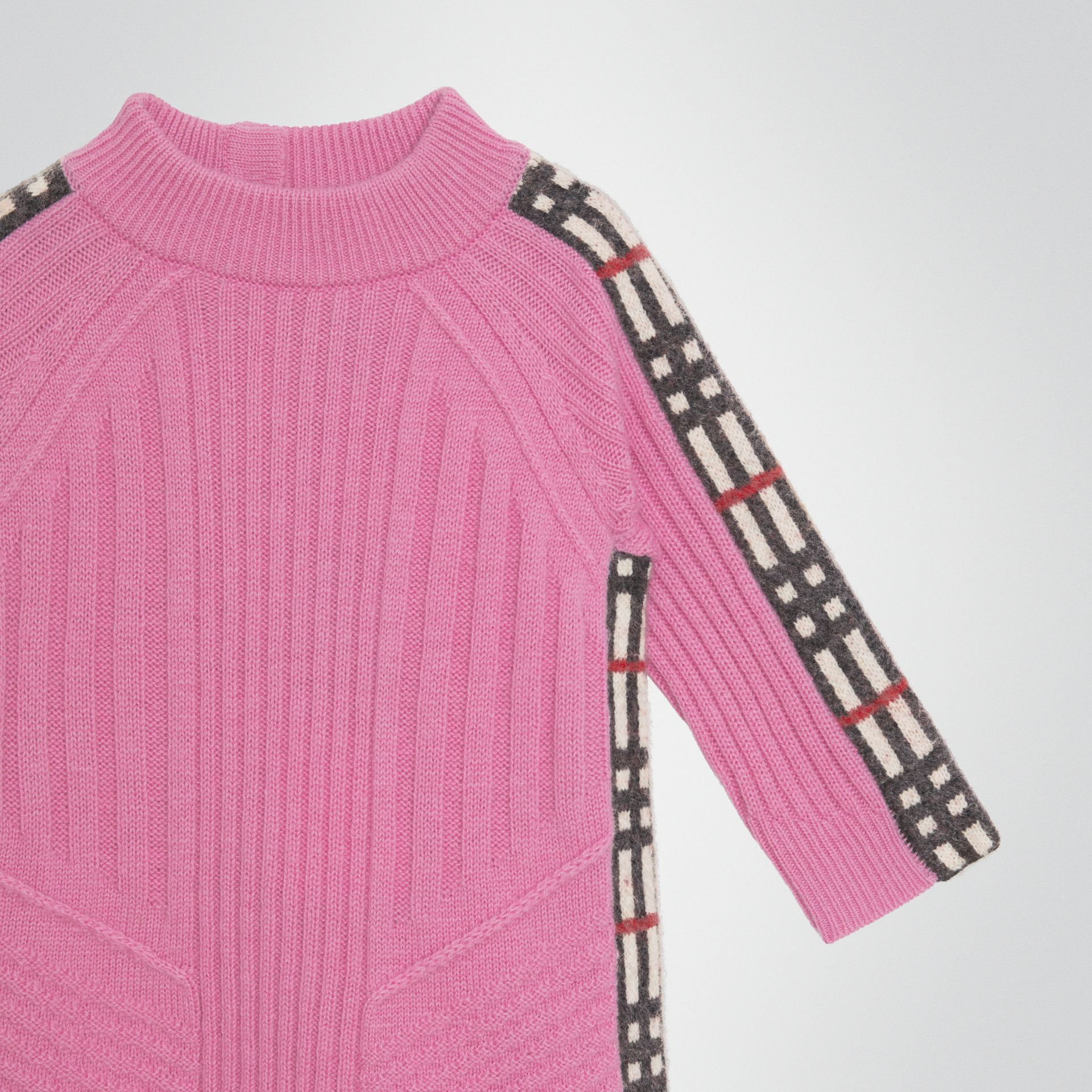 Check Detail Wool Cashmere Dress in Rose Pink - Children | Burberry Hong Kong - gallery image 4