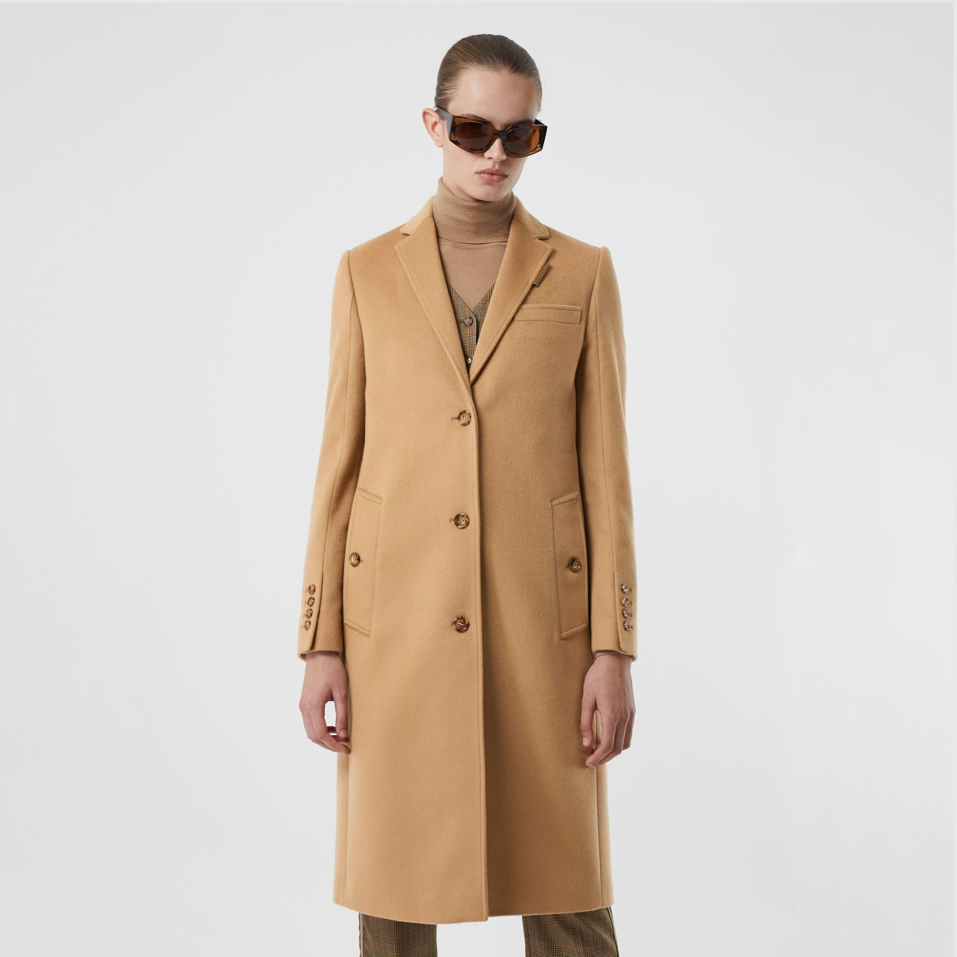 Wool Cashmere Tailored Coat in Light Camel - Women | Burberry - gallery image 6