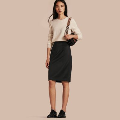 stretch wool tailored pencil skirt black burberry