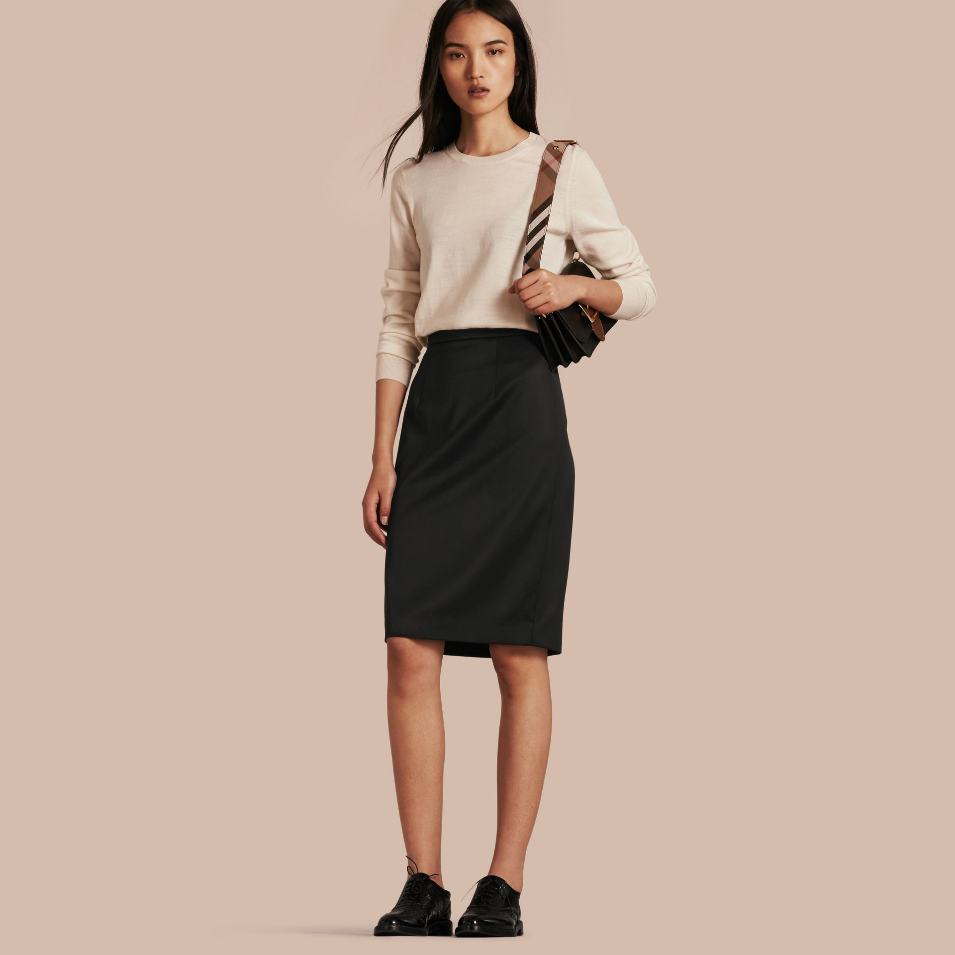 Stretch Virgin Wool Tailored Pencil Skirt in Black - gallery image 1