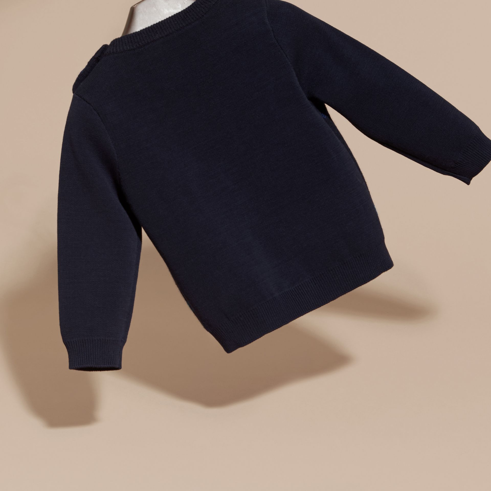 Check Wool Cashmere Blend Sweater in Navy - gallery image 4