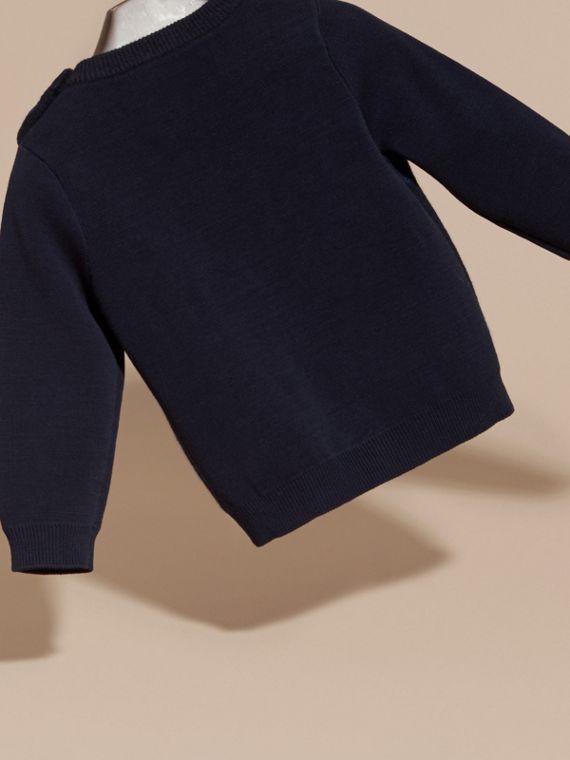Check Wool Cashmere Blend Sweater in Navy - cell image 3