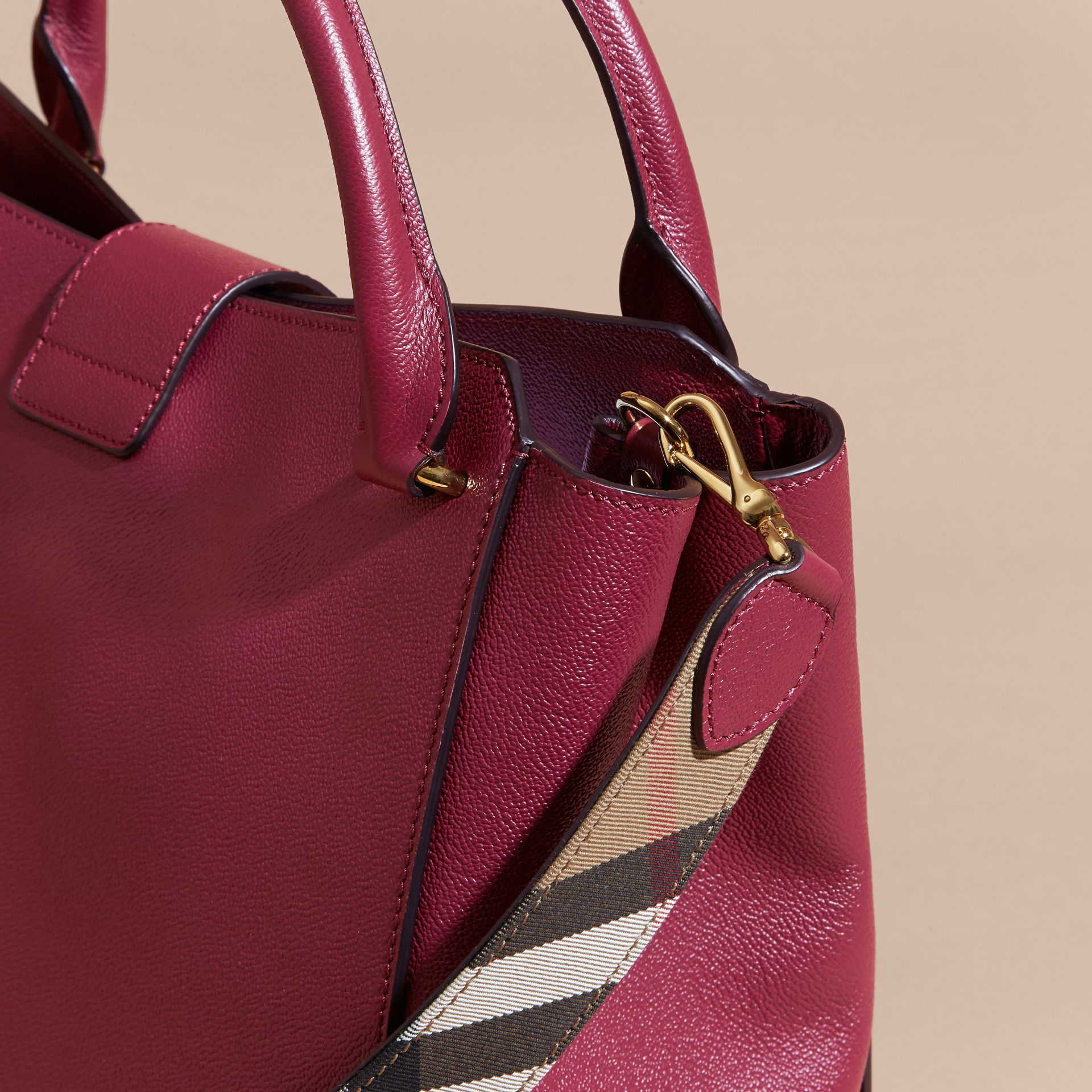 The Large Buckle Tote in Grainy Leather Dark Plum - gallery image 7