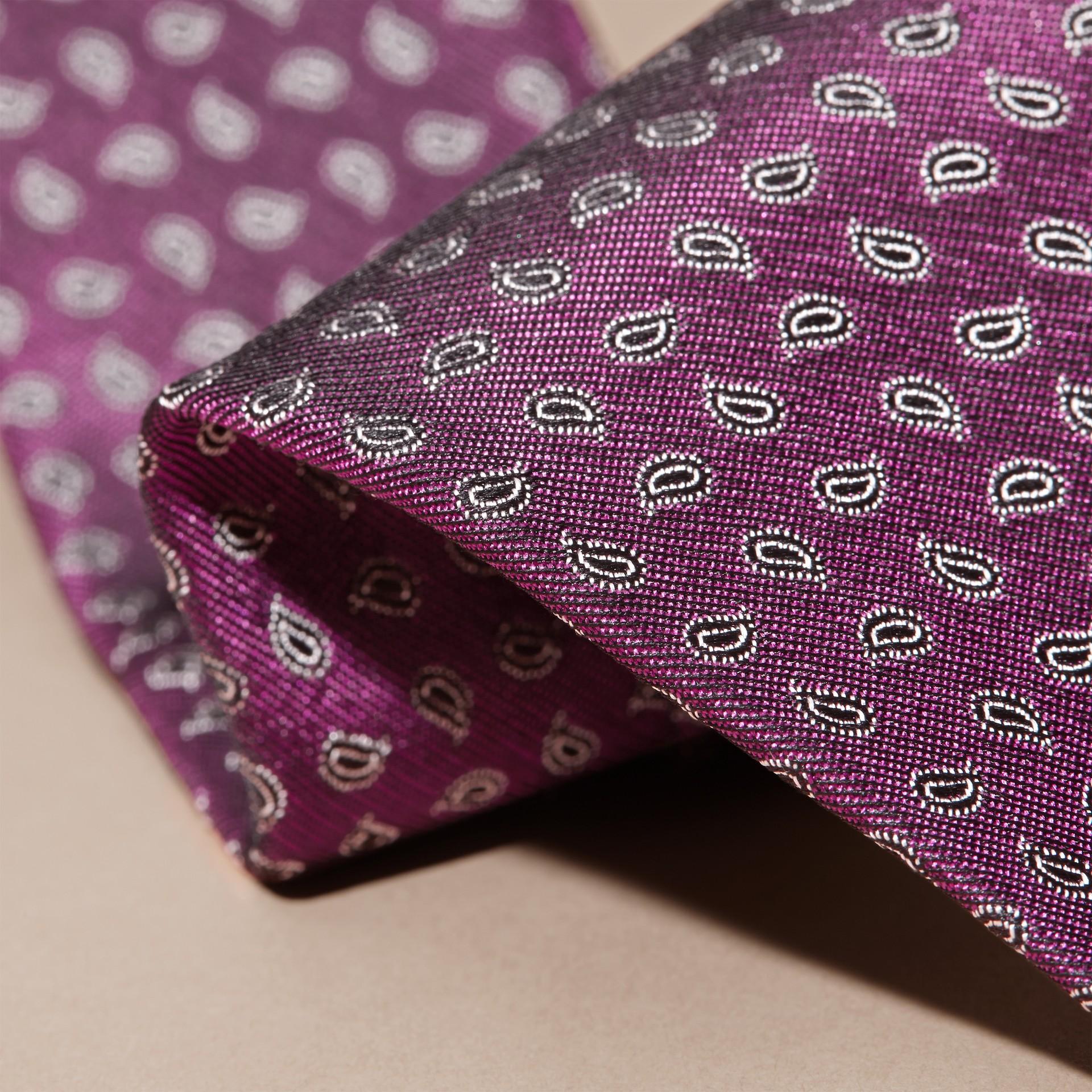 Purple Modern Cut Paisley Jacquard Silk Tie - gallery image 2