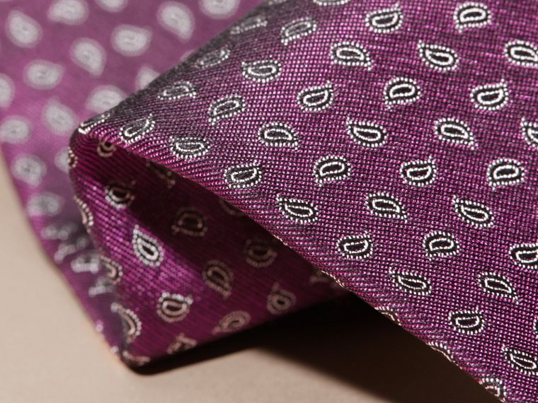 Purple Modern Cut Paisley Jacquard Silk Tie - cell image 1