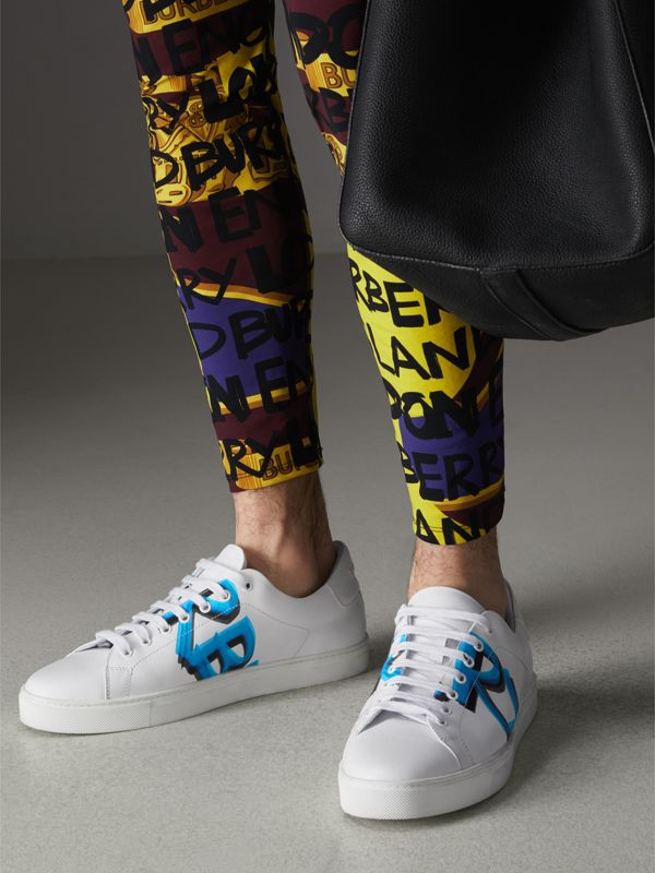 Logo Print Leather Sneakers in Optic White/bright Sky Blue - Men | Burberry - cell image 2