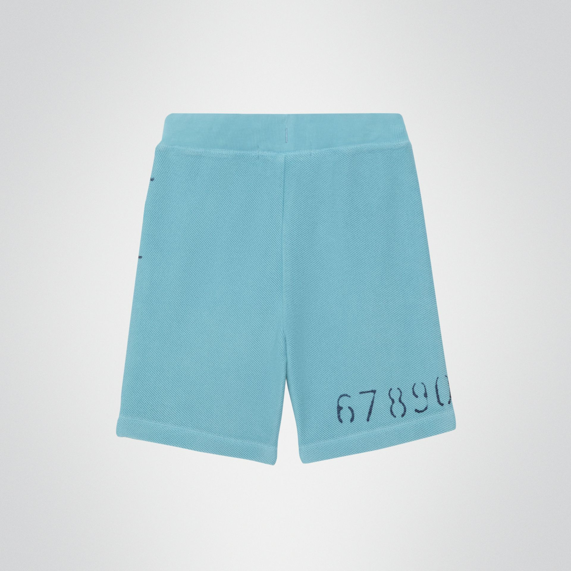 Stencil Logo Print Cotton Drawcord Shorts in Bright Cyan Blue - Children | Burberry United Kingdom - gallery image 3