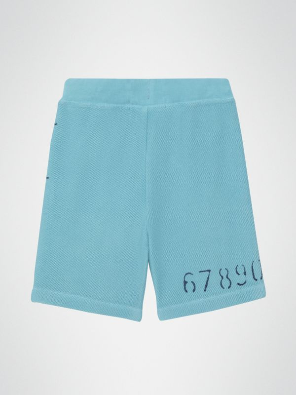 Stencil Logo Print Cotton Drawcord Shorts in Bright Cyan Blue - Children | Burberry - cell image 3