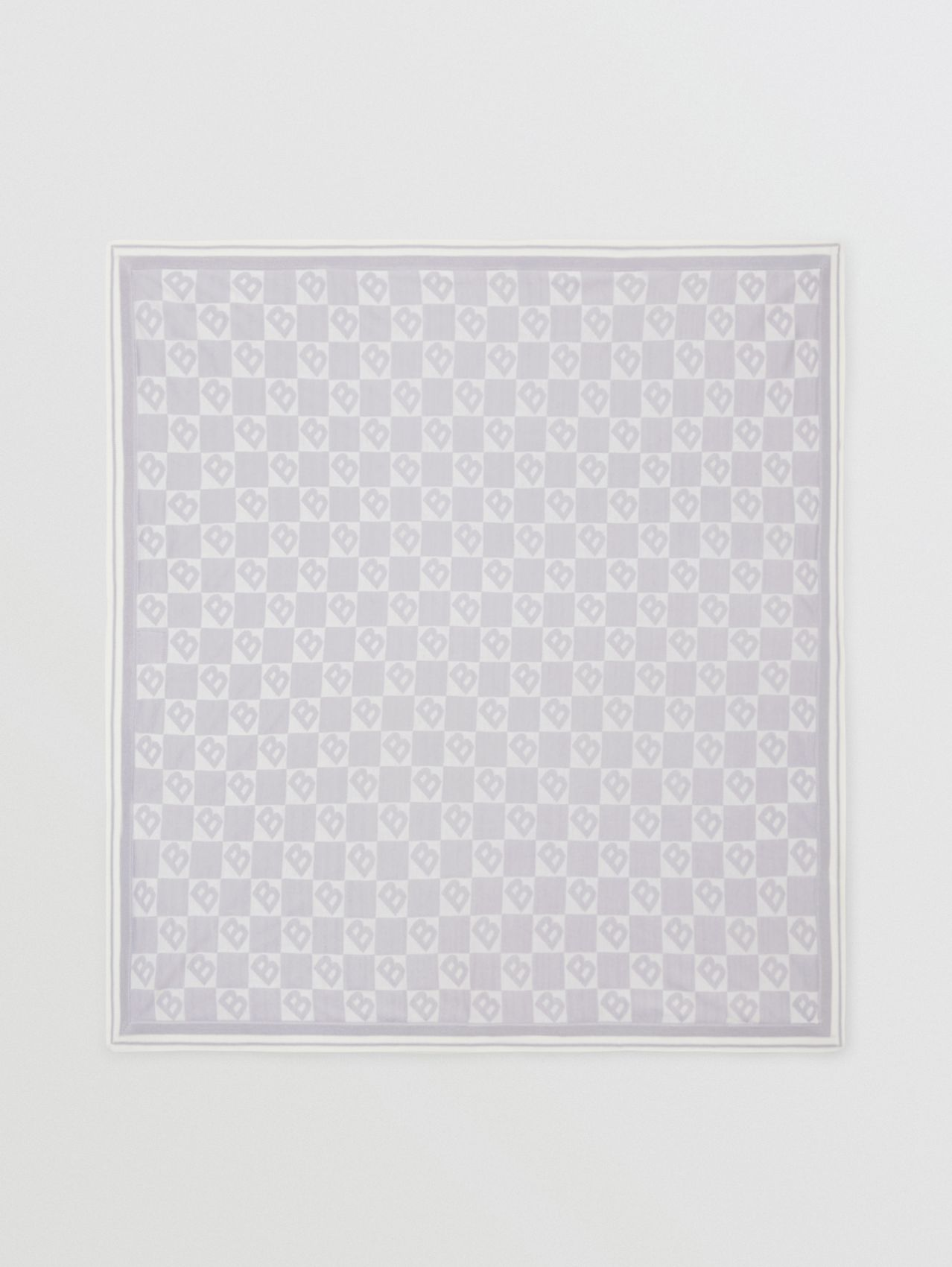 B Motif Cotton Merino Wool Cashmere Baby Blanket in Light Grey