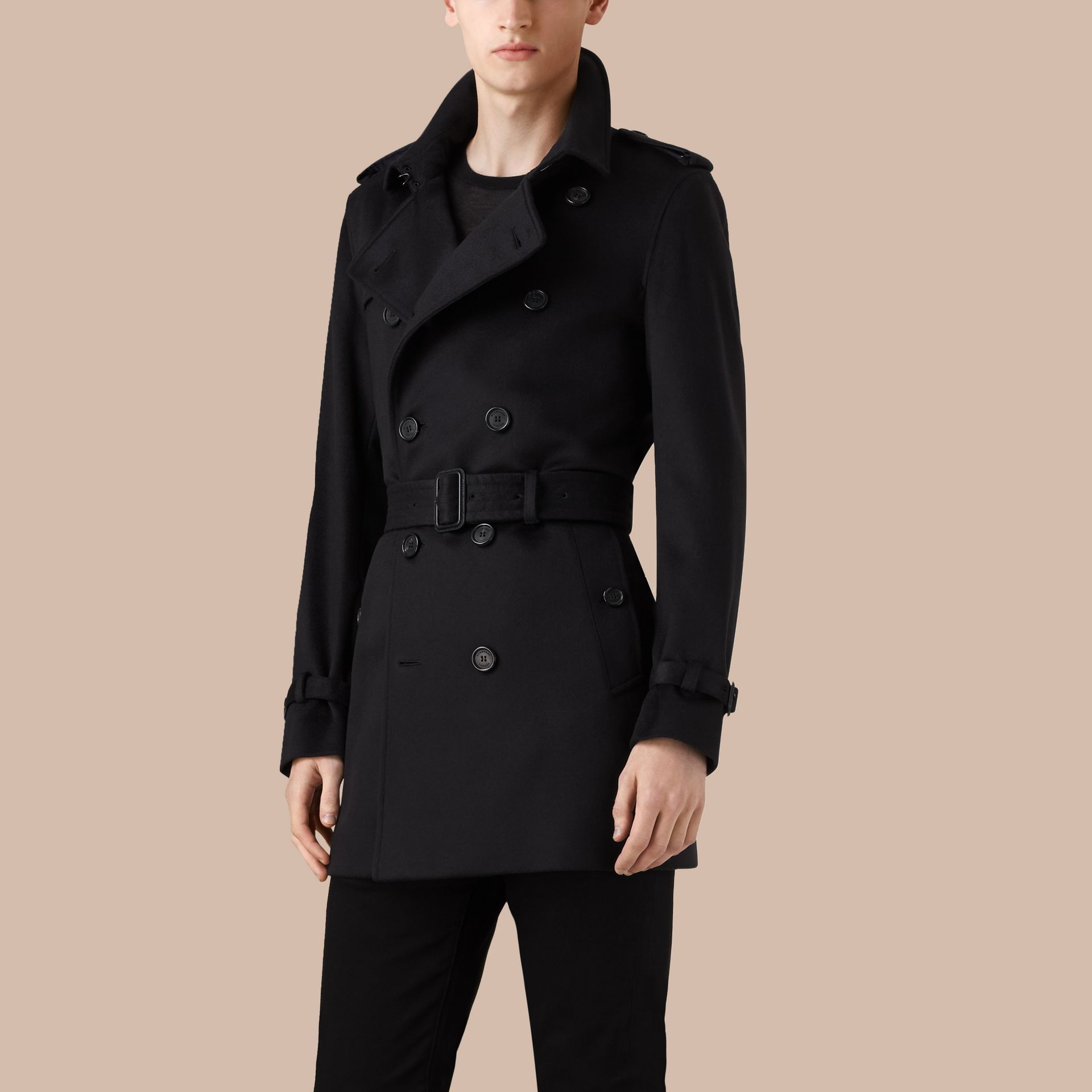 Navy Cashmere Trench Coat - gallery image 4