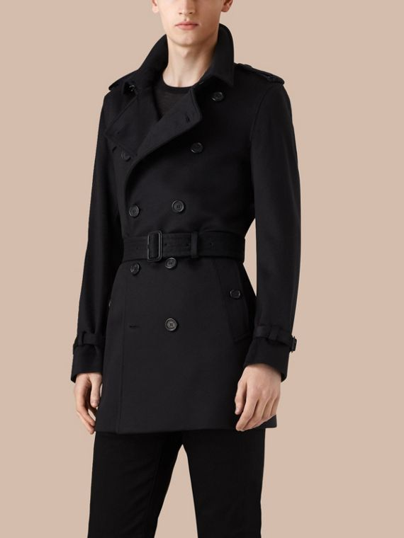 Navy Kensington Fit Cashmere Trench Coat - cell image 3