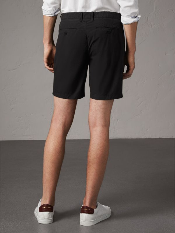 Cotton Poplin Chino Shorts in Black - Men | Burberry United States - cell image 2