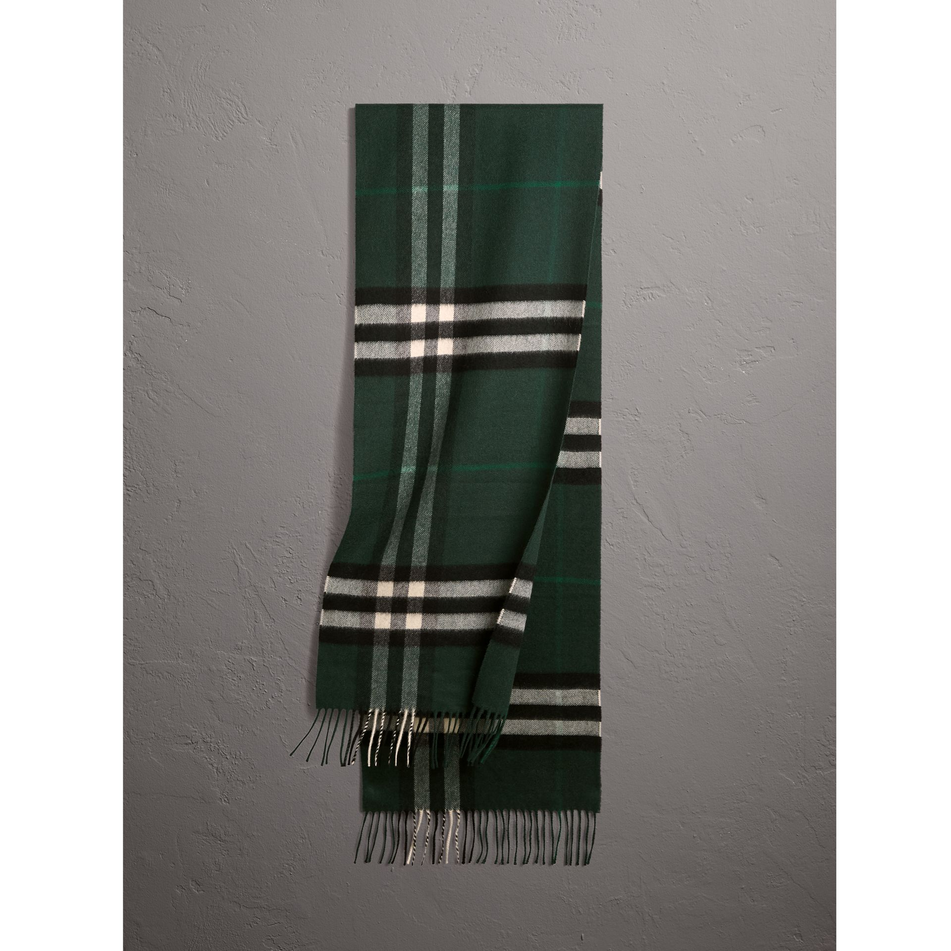 The Classic Check Cashmere Scarf in Dark Forest Green | Burberry - gallery image 1