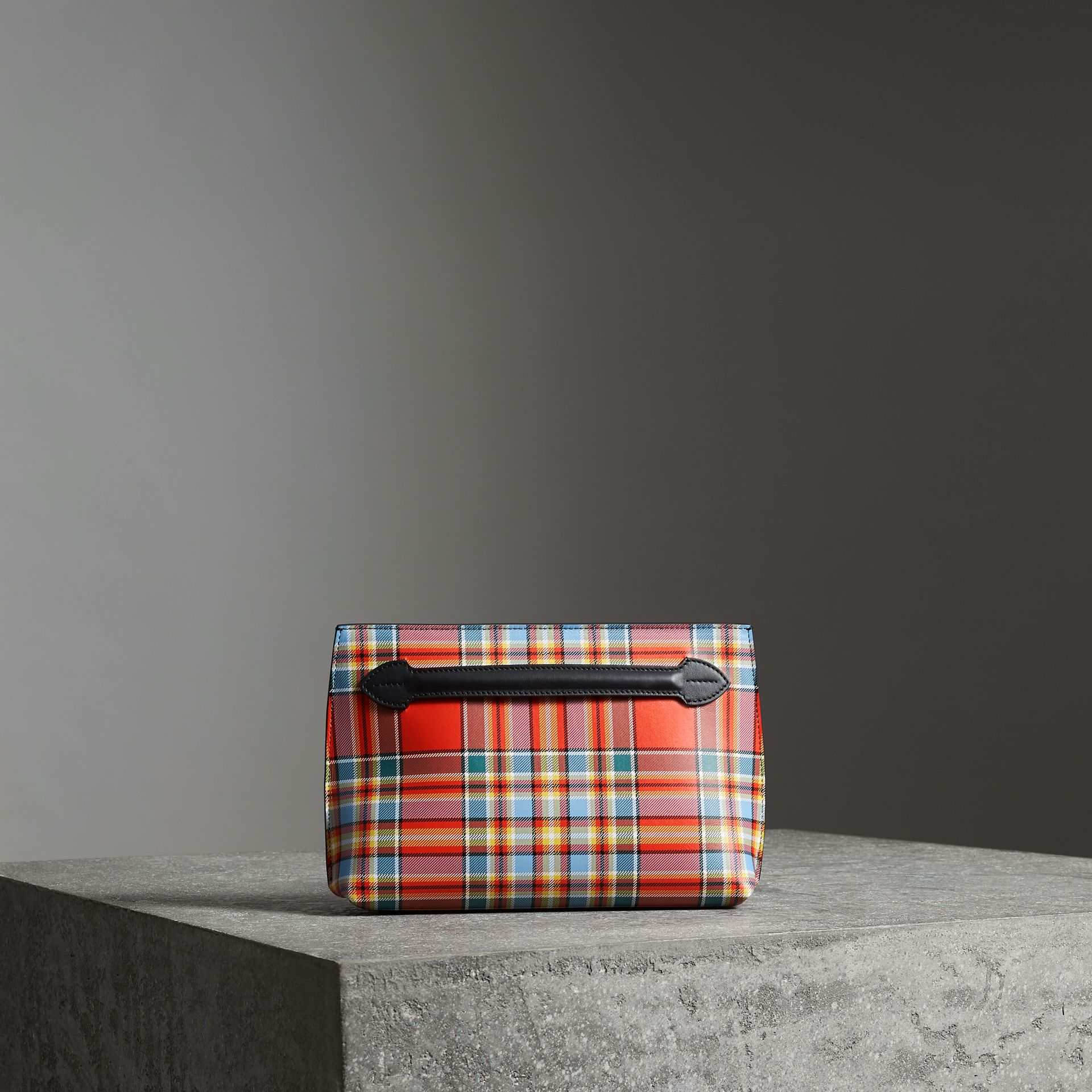 Grainy Leather Wristlet Clutch in Natural White/orange Red - Women | Burberry Australia - gallery image 0
