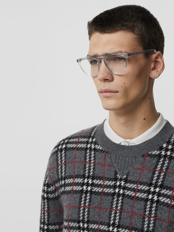 Keyhole D-shaped Optical Frames in Grey - Men | Burberry - cell image 3