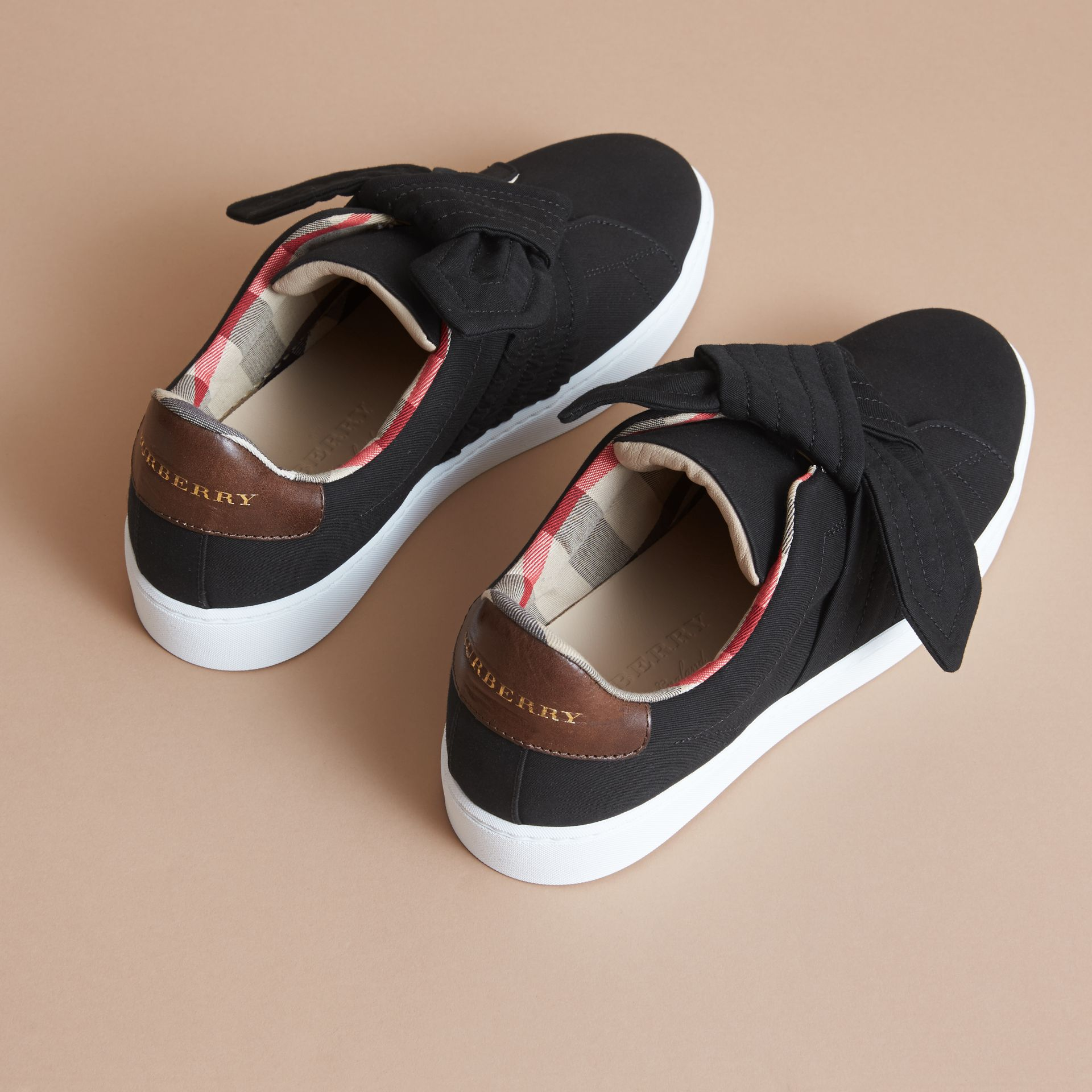 Trench Knot Cotton Gabardine Trainers in Black - Women | Burberry - gallery image 4