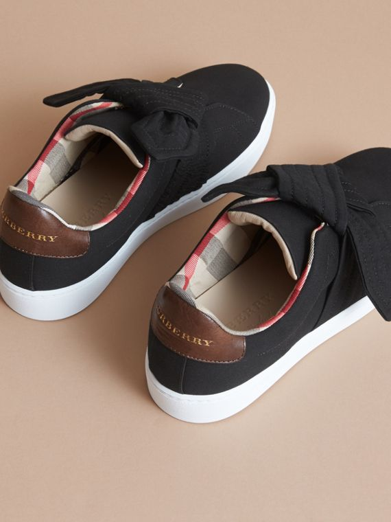 Trench Knot Cotton Gabardine Trainers in Black - Women | Burberry - cell image 3