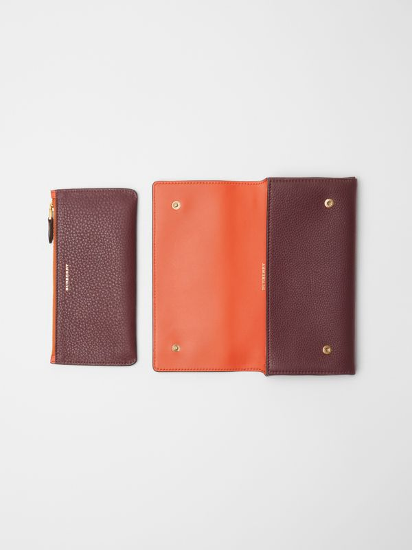 Two-tone Leather Continental Wallet in Deep Claret - Women | Burberry Australia - cell image 3