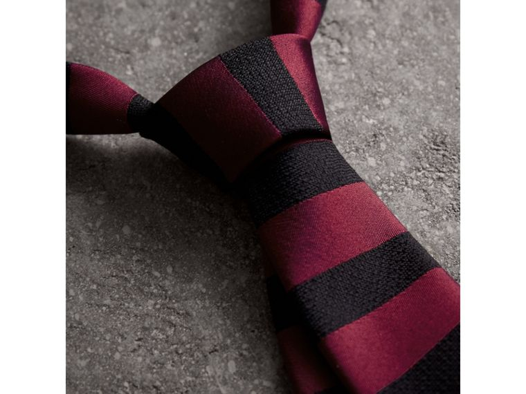 Slim Cut Striped Silk Wool Tie in Plum Pink - Men | Burberry - cell image 1