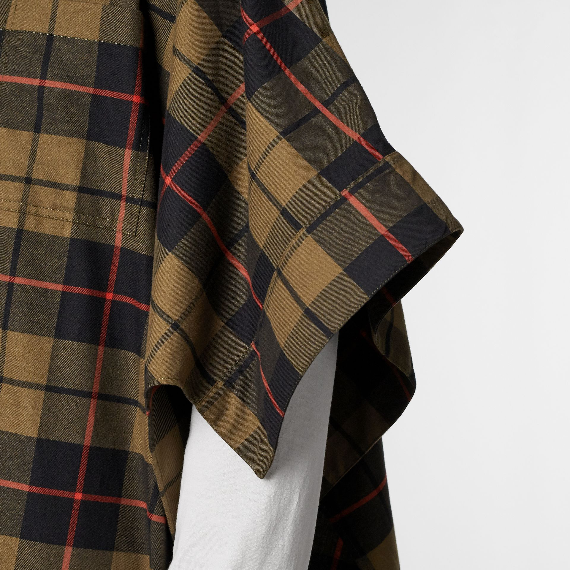 Monogram Motif Check Cotton Oversized Poncho in Military Olive | Burberry - gallery image 9