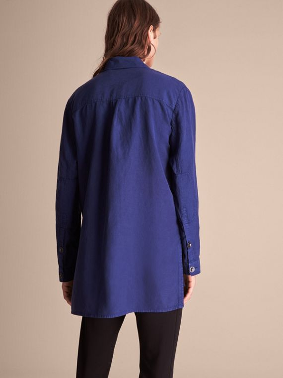 Lyocell Linen Cotton Smock Shirt in Dark Blue - Men | Burberry - cell image 2