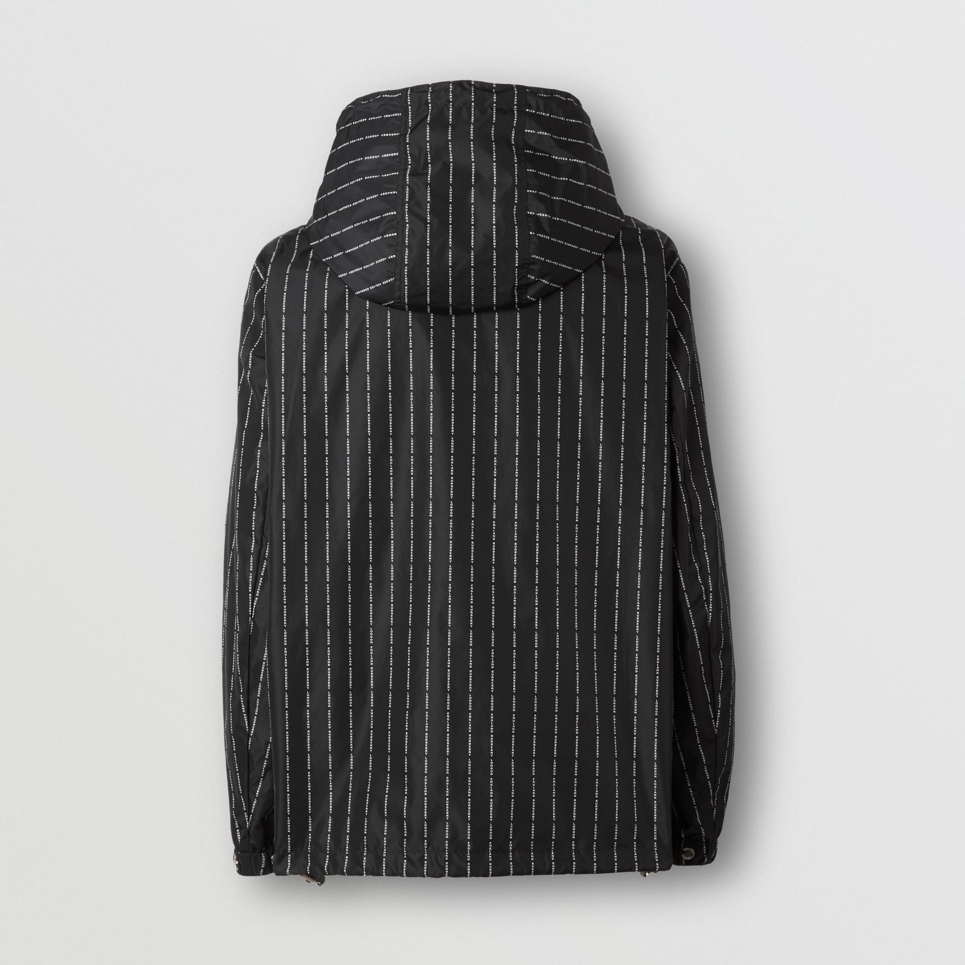 Logo Pinstripe Nylon Hooded Jacket in Black - Men   Burberry United Kingdom - gallery image 8