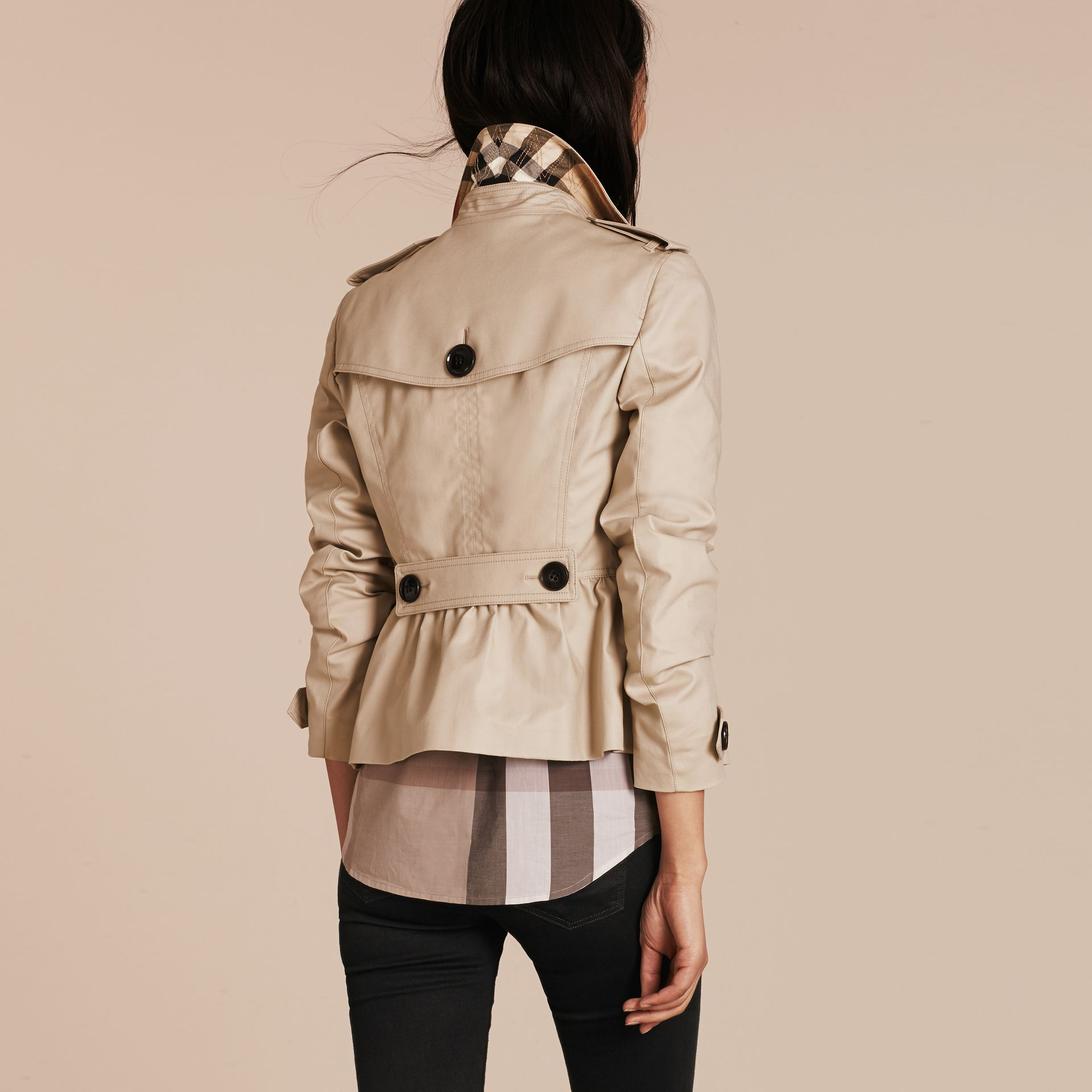 Stone Stretch Cotton Skirted Trench Jacket - gallery image 3