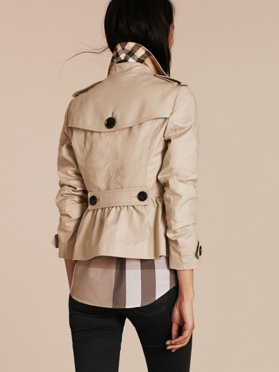 Stone Stretch Cotton Skirted Trench Jacket - cell image 2