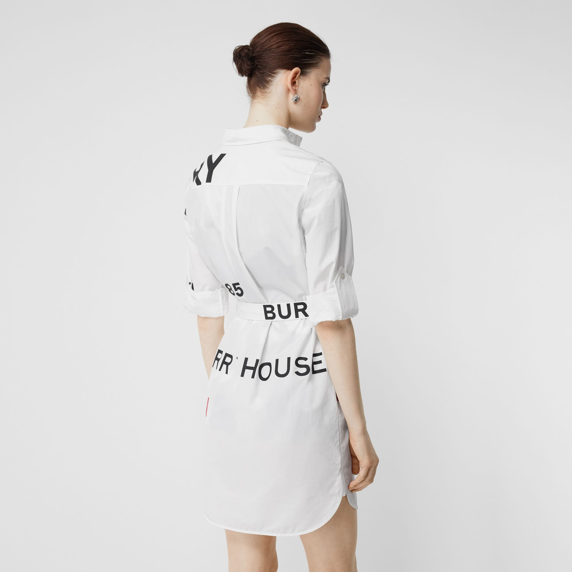 Horseferry Print Cotton Tie-waist Shirt Dress in White | Burberry - gallery image 2