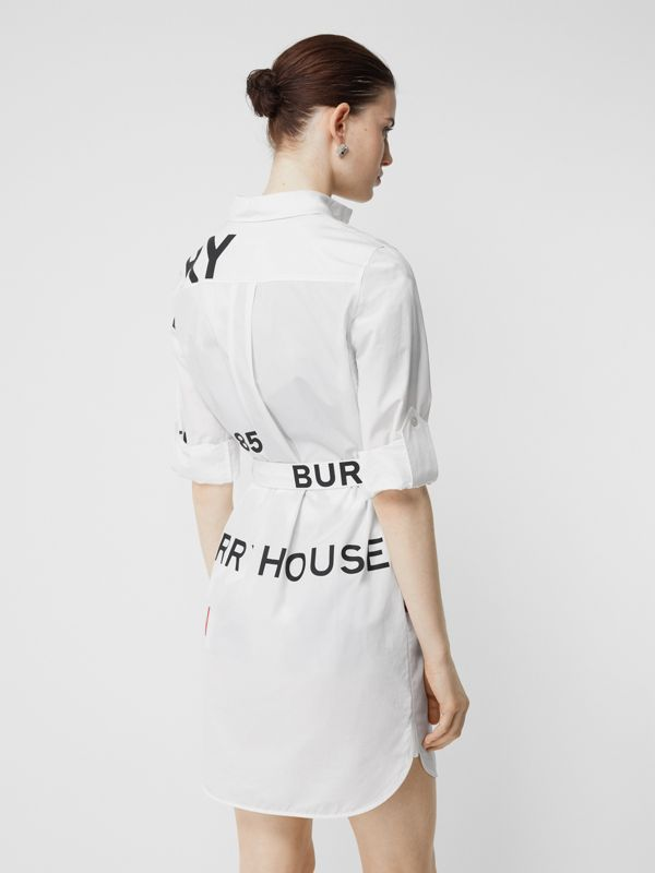 Horseferry Print Cotton Tie-waist Shirt Dress in White | Burberry - cell image 2