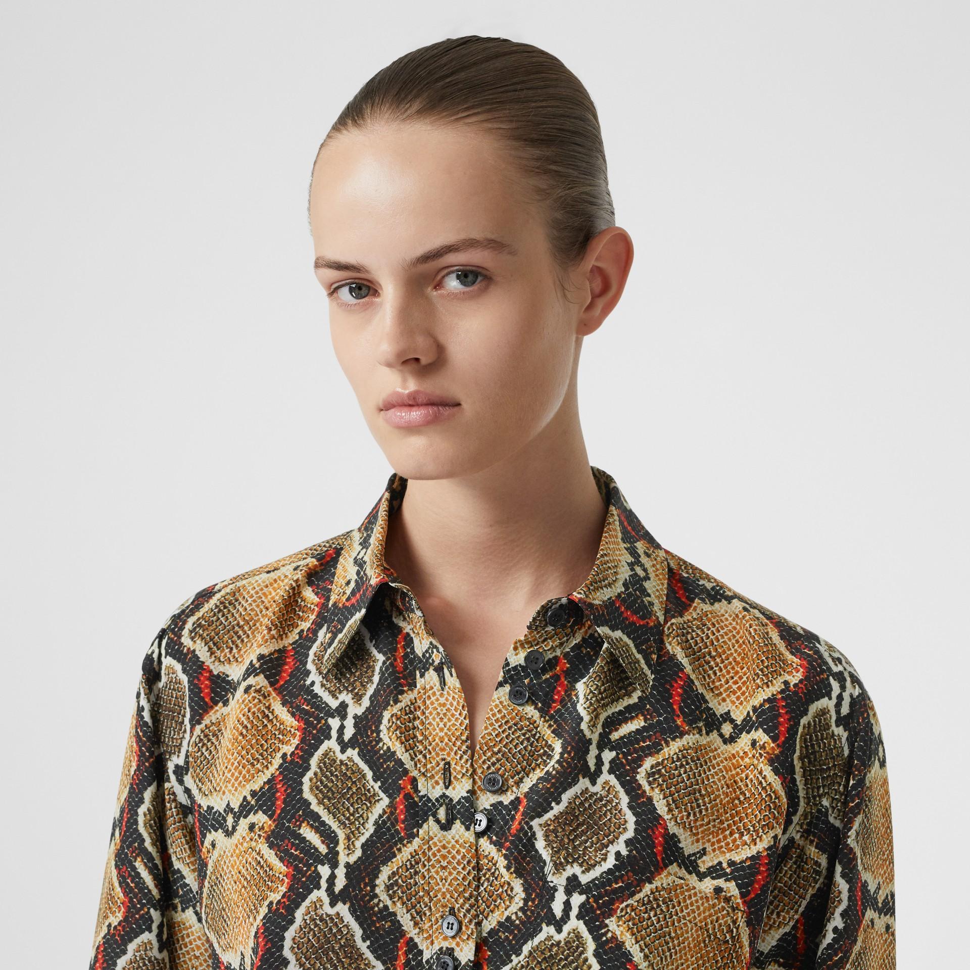 Python Print Silk Shirt in Soft Cocoa - Women | Burberry United Kingdom - gallery image 1