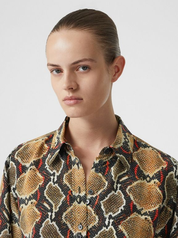 Python Print Silk Shirt in Soft Cocoa - Women | Burberry United Kingdom - cell image 1